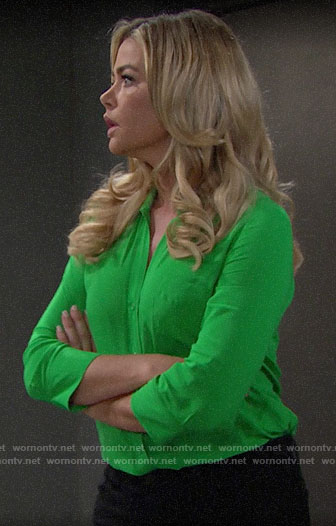 Shauna's green button down blouse on The Bold and the Beautiful