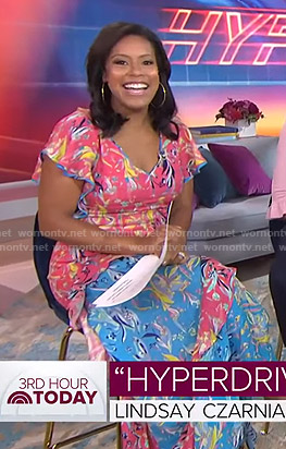 Sheinelle's blue and pink floral dress on Today