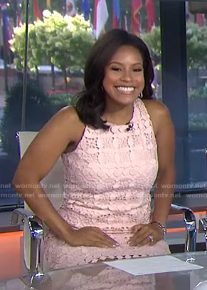 Sheinelle's pink sleeveless lace dress on Today