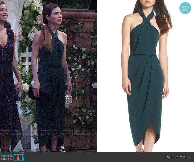 Shona Joy Knotted Tulip Hem Midi Dress worn by Victoria Newman (Amelia Heinle) on The Young & the Restless