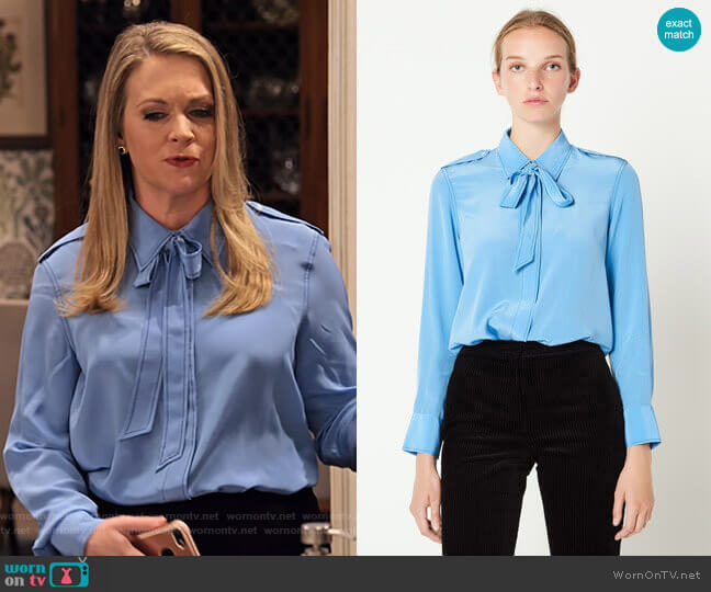 Silk Shirt with Bow Collar by Sandro worn by Liz (Melissa Joan Hart) on No Good Nick