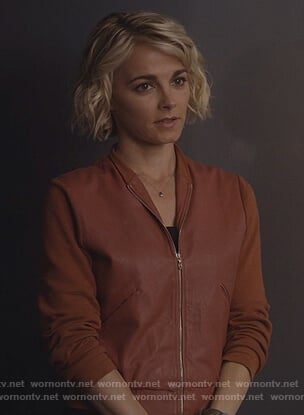 Lizzie's brown leather bomber jacket  on Instinct