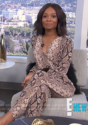 Zuri's snakeskin print jumpsuit on E! News