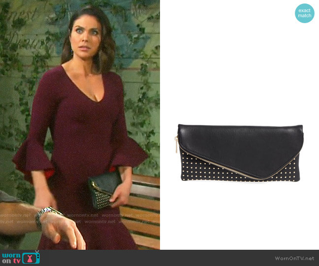 Sole Society Studded Foldover Clutch worn by Chloe Lane (Nadia Bjorlin) on Days of our Lives