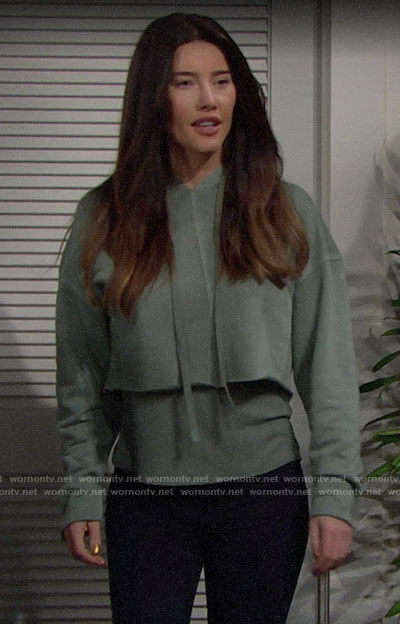 Steffy's green cropped hoodie on The Bold and the Beautiful