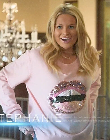 Stephanie's pink sequin lips sweater on The Hills New Beginnings