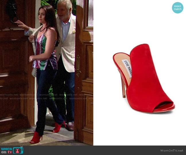 Steve Madden Sinful Sandal worn by Quinn Fuller (Rena Sofer) on The Bold & the Beautiful