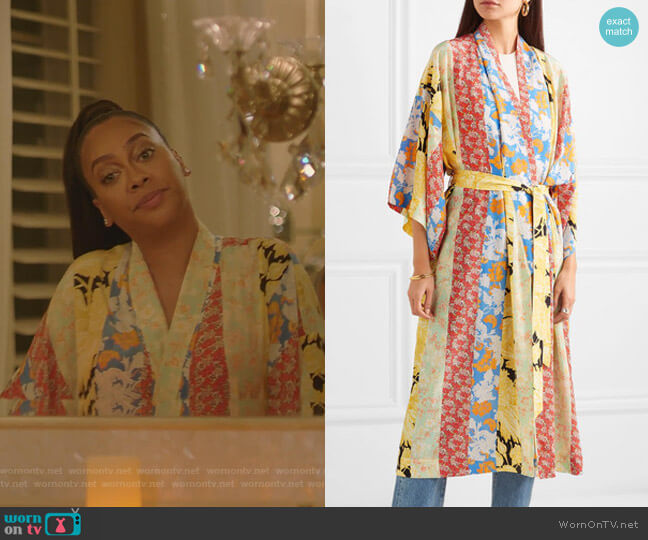 Floral-Print Silk Crepe de Chine Robe by Stine Goya worn on La La Anthony on BH90210