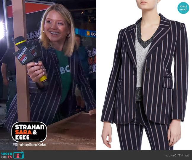 Striped Stretch Blazer by Derek Lam 10 Crosby worn by Sara Haines  on Good Morning America