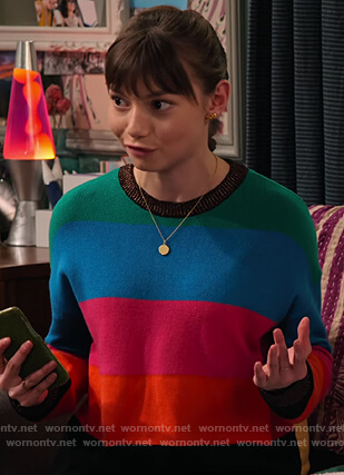 Molly's multicolored stripe sweater on No Good Nick