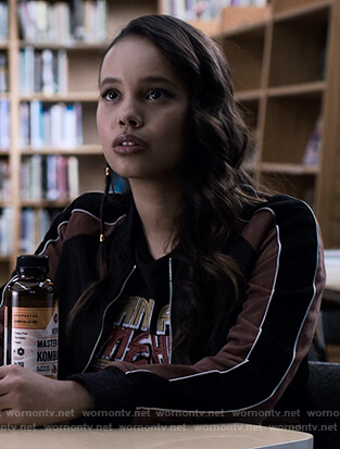 Jessica's colorblock bomber jacket on 13 Reasons Why