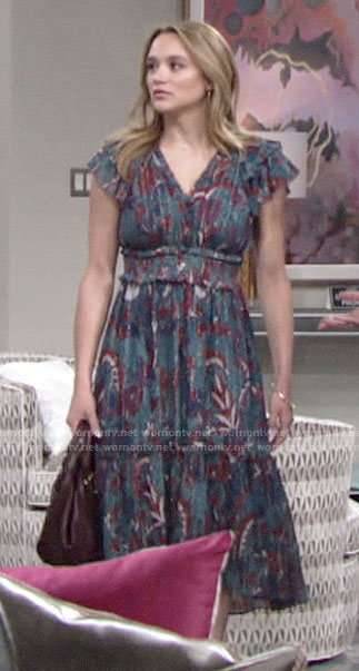 Summer's blue floral ruffle sleeve dress on The Young and the Restless