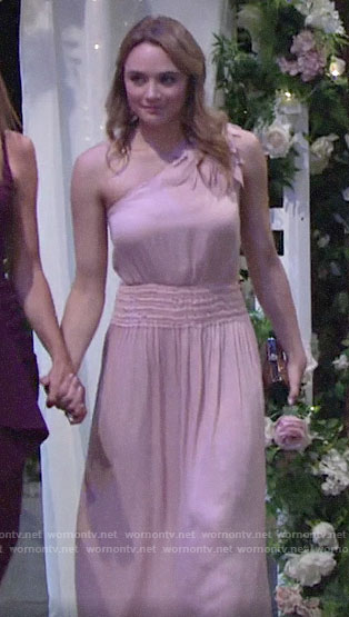 Summer's pink one-shoulder dress at Kola wedding on The Young and the Restless