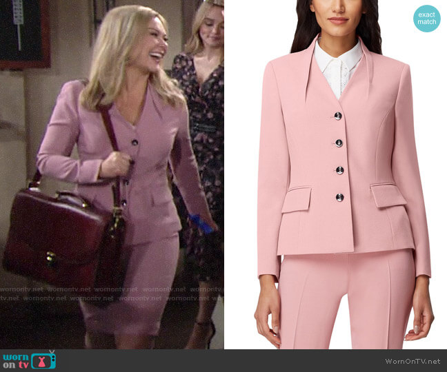 Tahari ASL Pintuck-Collar Jacket worn by Britney on The Young and the Restless