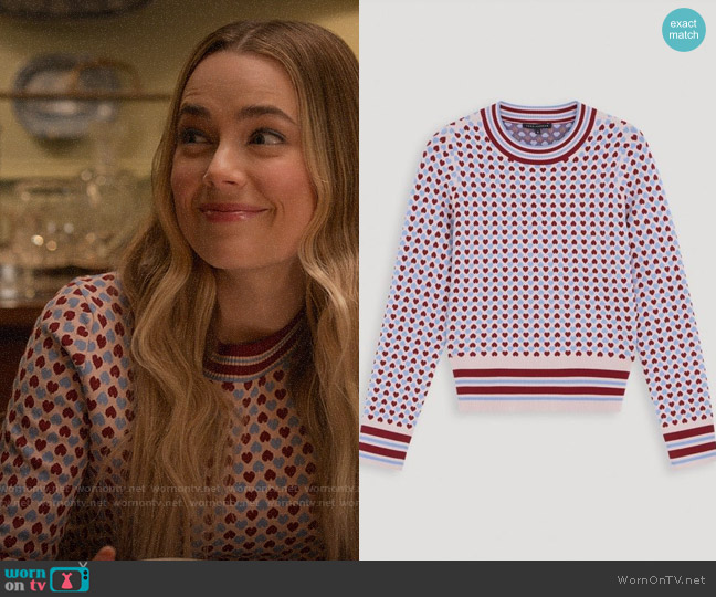 Tara Jarmon Heart Jacquard Sweater worn by Ainsley Howard (Rebecca Rittenhouse) on Four Weddings & a Funeral