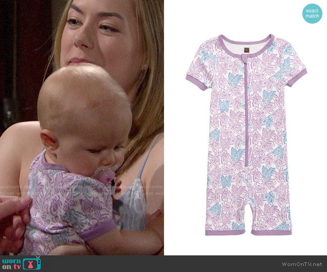 Tea Collection Fitted One-Piece Short Pajamas worn by baby Beth on The Bold and the Beautiful