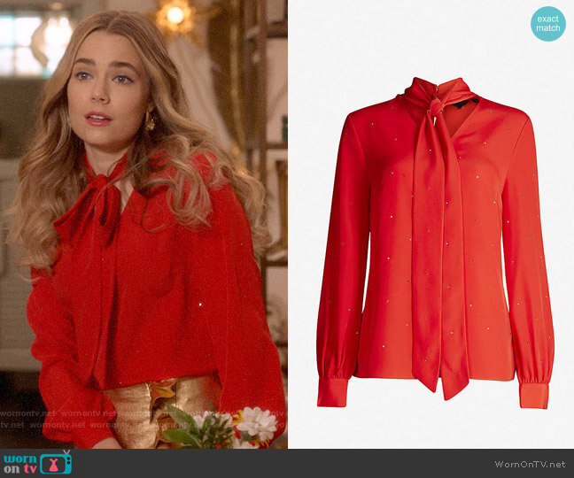 Ted Baker Crystal-embellished Neck-tie Crepe Blouse worn by Ainsley Howard (Rebecca Rittenhouse) on Four Weddings & a Funeral