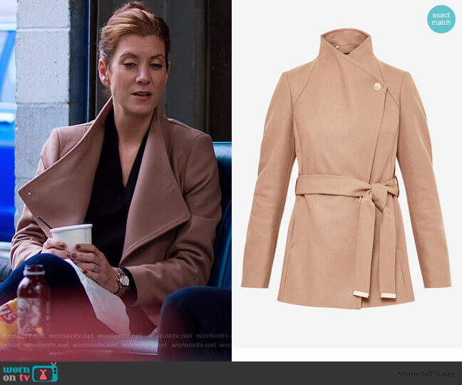 Elethea Short Wrap Coat by Ted Baker worn by Olivia Baker (Kate Walsh) on 13 Reasons Why