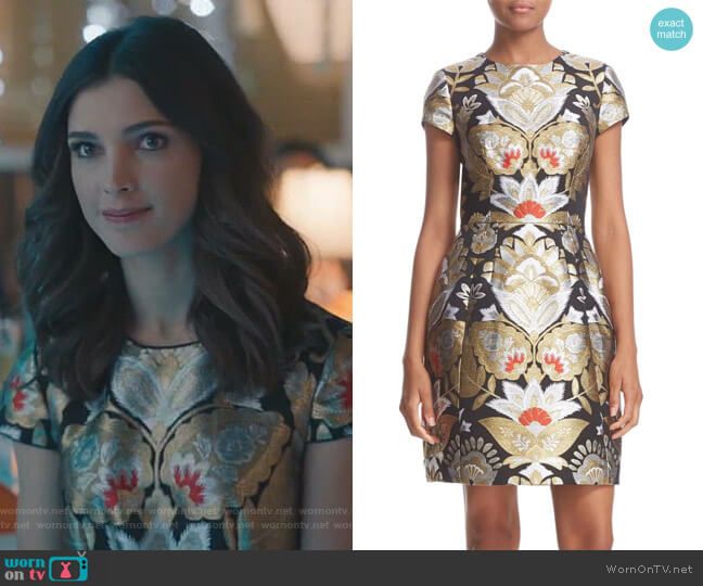 Imoen Opulent Orient Jacquard Fit & Flare Dress by Ted Baker worn by Alicia Mendoza (Denyse Tontz) on Grand Hotel