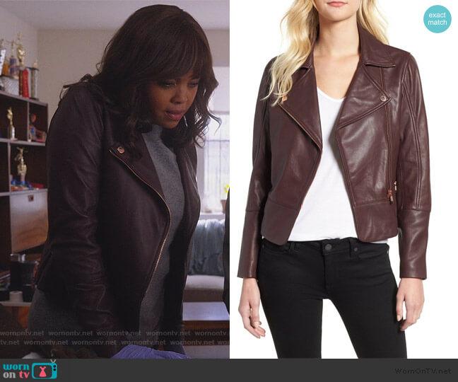 Lizia Biker Jacket by Ted Baker worn by Jasmine Gooden (Sharon Leal) on Instinct