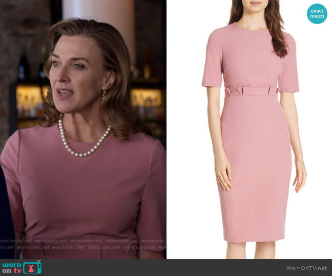 Maggidd Ruffle Waist Pencil Dress by Ted Baker worn by Nora Walker (Brenda Strong) on 13 Reasons Why