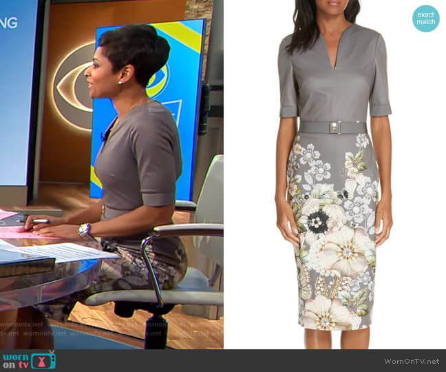 Wendala Gem Gardens Body-Con Dress by Ted Baker worn by Jericka Duncan on CBS This Morning