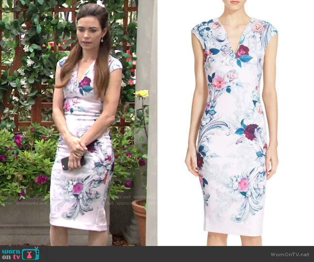 Ted Baker Acanthus Scroll Dress worn by Victoria Newman (Amelia Heinle) on The Young & the Restless