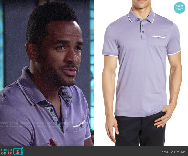 Ted Baker Derry Polo worn by Nate Hastings (Sean Dominic) on The Young and the Restless