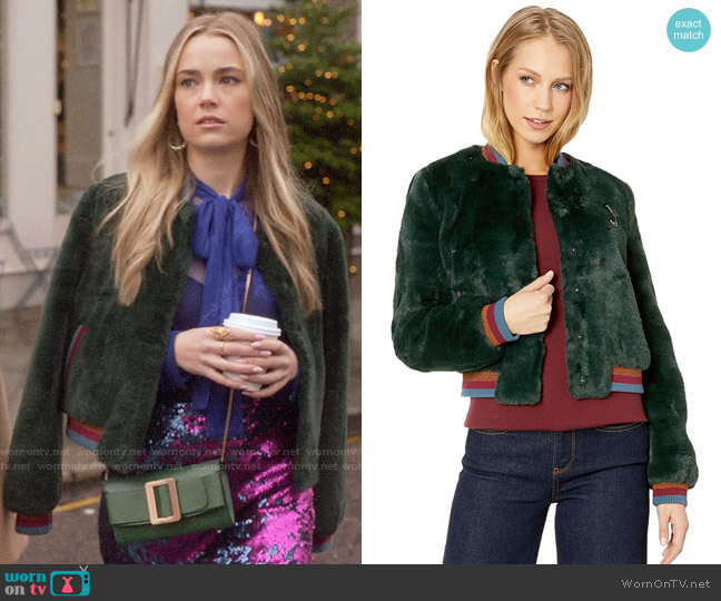 Ted Baker Aether Faux Fur Bomber Jacket worn by Ainsley Howard (Rebecca Rittenhouse) on Four Weddings & a Funeral