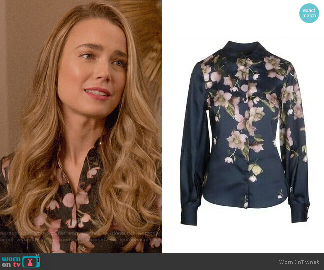 Ted Baker Laniie Arboretum Full Sleeve Blouse worn by Ainsley Howard (Rebecca Rittenhouse) on Four Weddings & a Funeral
