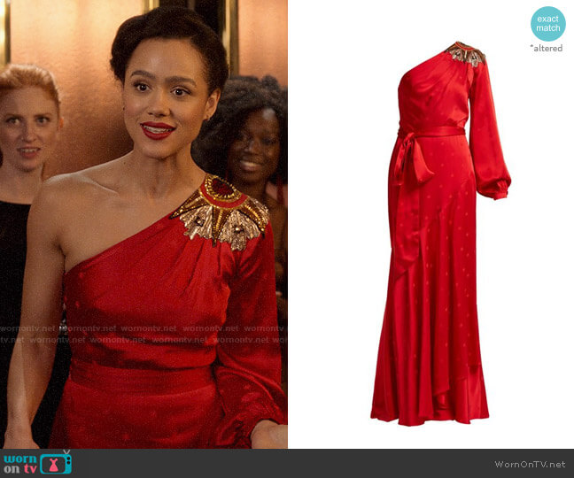 Temperley London Parachute Embellished Satin Gown worn by Maya (Nathalie Emmanuel) on Four Weddings & a Funeral