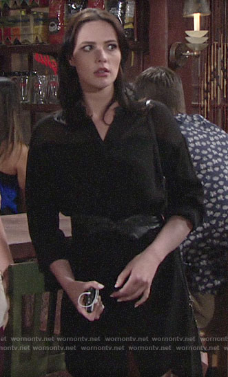 Tessa's black mini shirtdress on The Young and the Restless