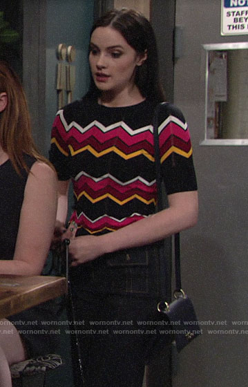 Tessa's chevron striped knit top on The Young and the Restless