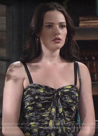 Tessa's floral ruffled front dress on The Young and the Restless