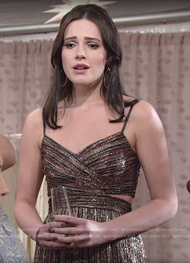 Tessa's metallic stripe midi dress with cutouts on The Young and the Restless