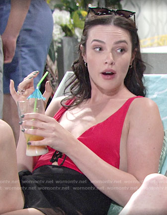 Tessa's red lace-up swimsuit on The Young and the Restless