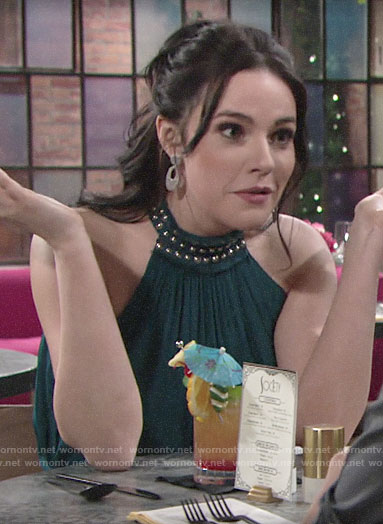 Tessa's teal green studded neck top on The Young and the Restless