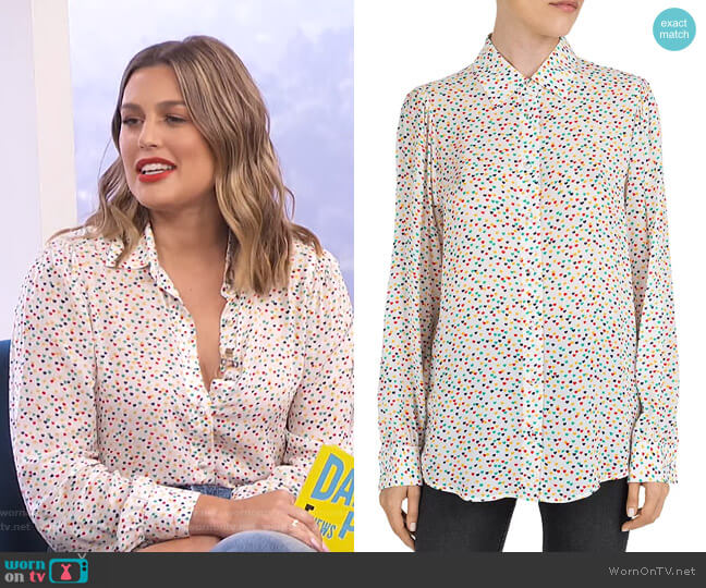 Multicolor Heart-Pattern Shirt by The Kooples worn by Carissa Loethen Culiner  on E! News