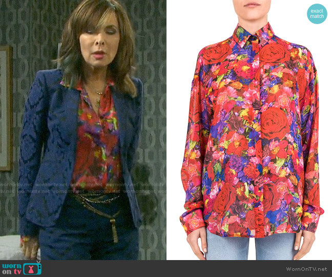 The Kooples Summer Night Floral Print Silk Shirt worn by Kate Roberts (Lauren Koslow) on Days of our Lives