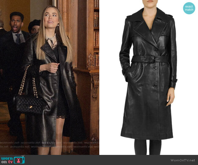 The Kooples Leather Trench Coat worn by Ainsley Howard (Rebecca Rittenhouse) on Four Weddings & a Funeral