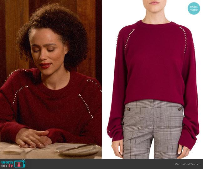 The Kooples Ring-Trim Crewneck Sweater worn by Maya (Nathalie Emmanuel) on Four Weddings & a Funeral