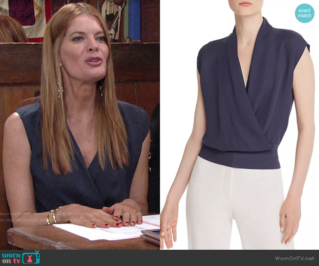 Theory Draped Silk Top worn by Phyllis Summers (Michelle Stafford) on The Young & the Restless