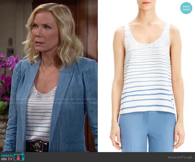 Theory Stripe Silk Tank worn by Brooke Logan (Katherine Kelly Lang) on The Bold & the Beautiful