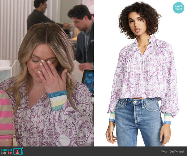 Cropped Edwardian Ribbed Top by Tibi worn by Kelsey Peters (Hilary Duff) on Younger