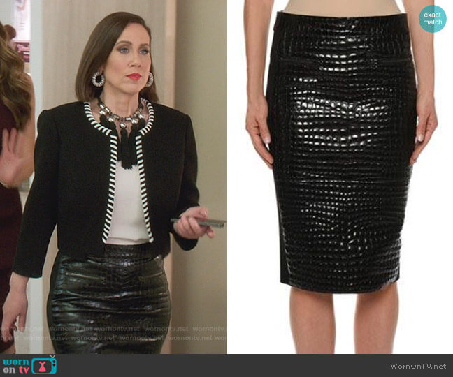 Crocodile Embossed Chantilly Lace Trim Skirt by Tom Ford (Thanks Younger Closet) worn by Diana Trout (Miriam Shor) on Younger