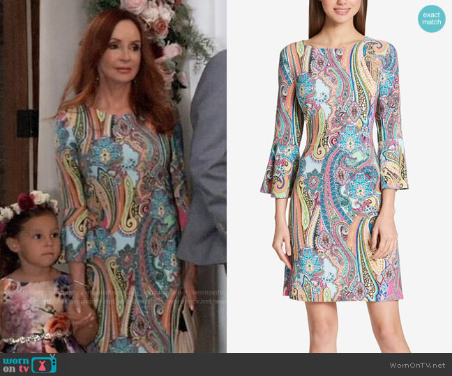Tommy Hilfiger Paisley Bell-Sleeve Dress worn by Bobbie Spencer (Jackie Zeman) on General Hospital