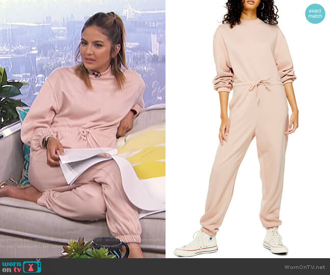 Sweatshirt Tie Waist Jumpsuit by Topshop worn by Erin Lim  on E! News