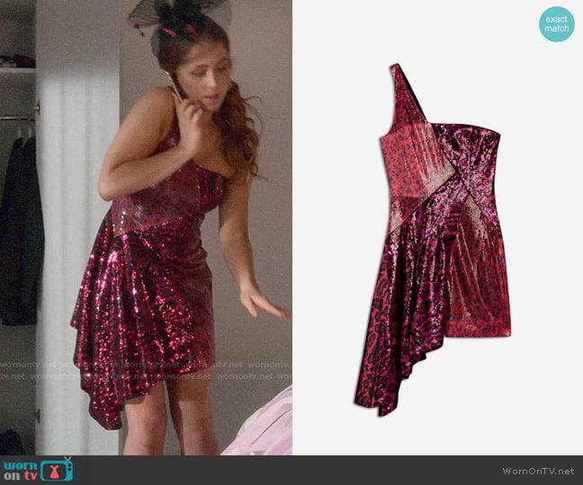 Topshop x Halpern Sequin Asymmetric Dress worn by Zara (Sophia La Porta) on Four Weddings & a Funeral