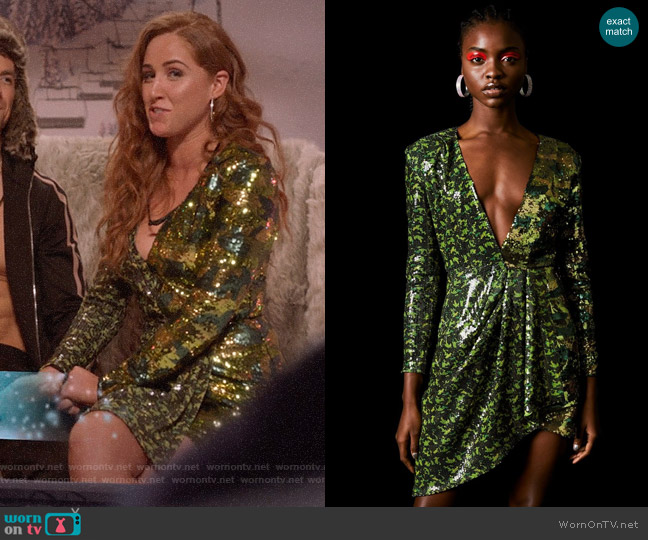 Topshop x Halpern Sequin Dress worn by Zara (Sophia La Porta) on Four Weddings & a Funeral