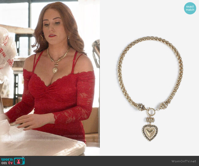 Topshop Heart Drop Necklace worn by Zara (Sophia La Porta) on Four Weddings & a Funeral
